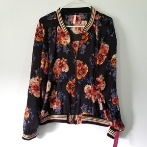 Xhileration - Black Floral Zip Up Jacket